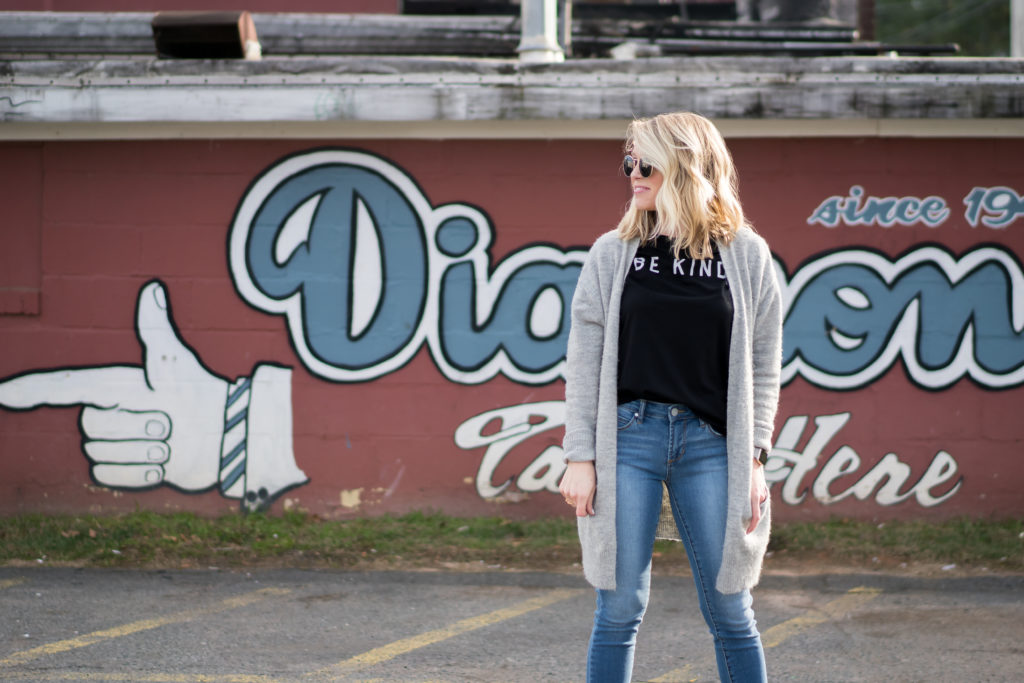 Luxe Angel Boutique, Scoop Charlotte, Bradley Rhyne Photography, Charlotte, Plaza Midwood, Fashion Blogger, Style Influencer, Be Kind, Articles of Society, Topshop, Caslon, Nordstrom, Target, February 2018, February, Winter to Spring Looks, tayloringstyle