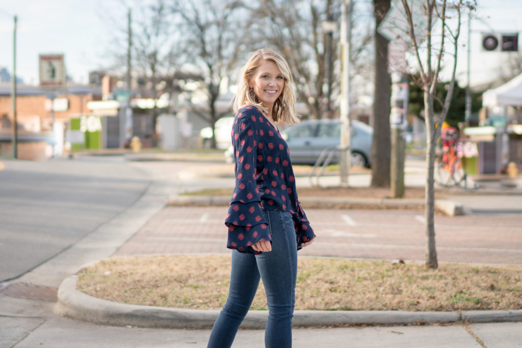 Luxe Angel Boutique, Scoop Charlotte, Bradley Rhyne Photography, Charlotte, Plaza Midwood, Fashion Blogger, Style Influencer, Be Kind, Articles of Society, Topshop, Caslon, Nordstrom, Target, February 2018, February, Winter to Spring Looks, tayloringstyle, hinge., Shelia Fajl Jewelry